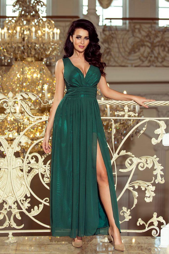 długa suknia na studniówkę butelkowa zieleń