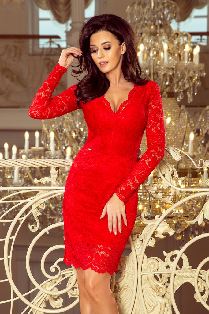 fitted red lace dress