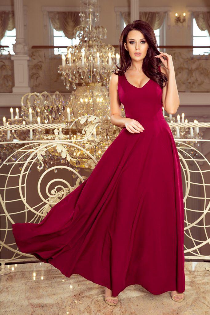 długa suknia z dekoltem bordowa