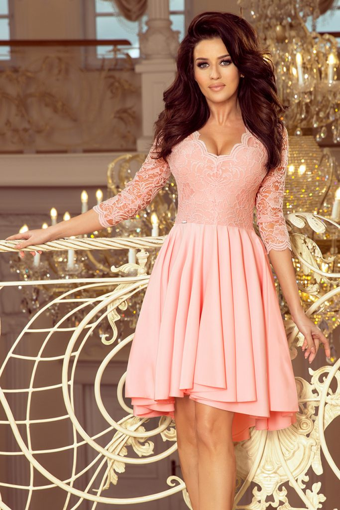 sukienka koronkowa z dłuższym tyłem róż