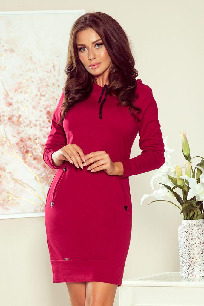 burgundy dress with a hood