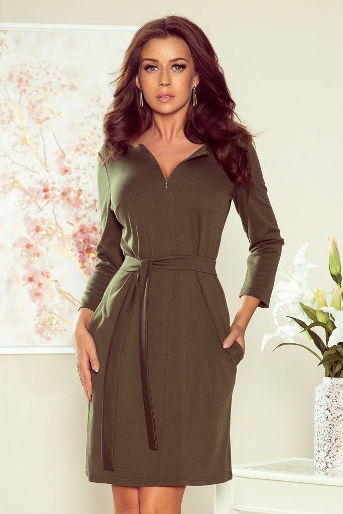 khaki long-sleeved dress