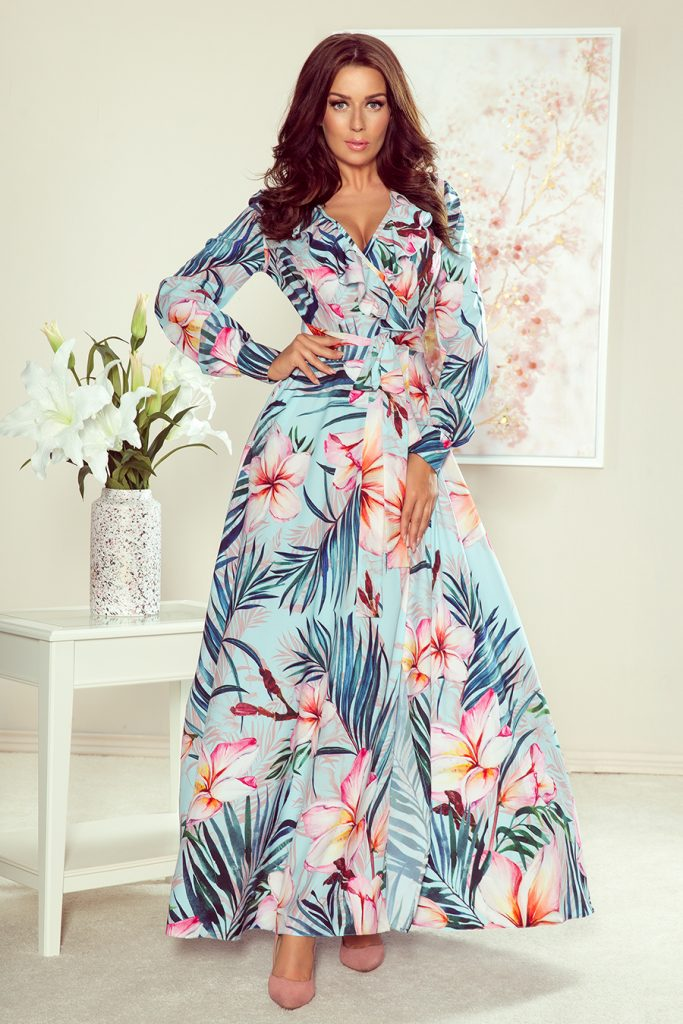 maxi dress for long sleeves with flowers