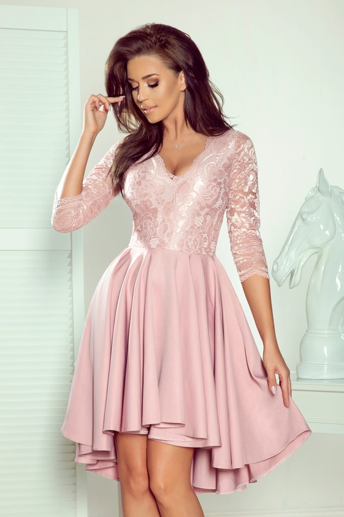lace dress longer back pink