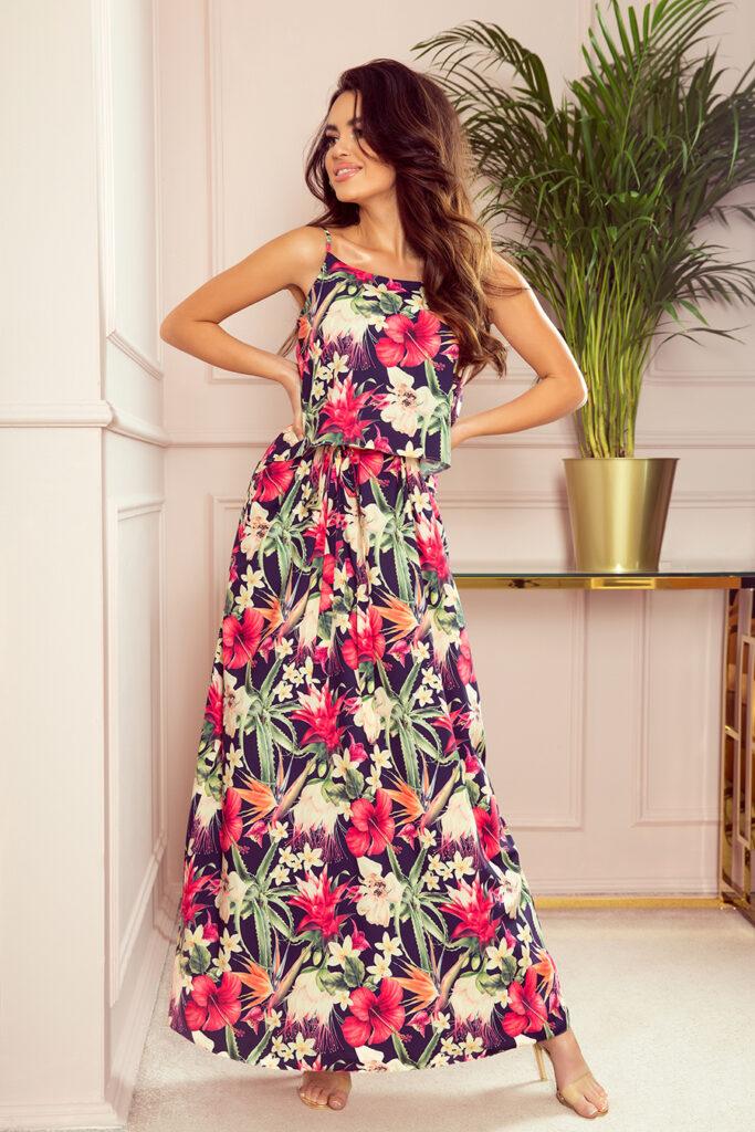długa letnia sukienka w kwiaty