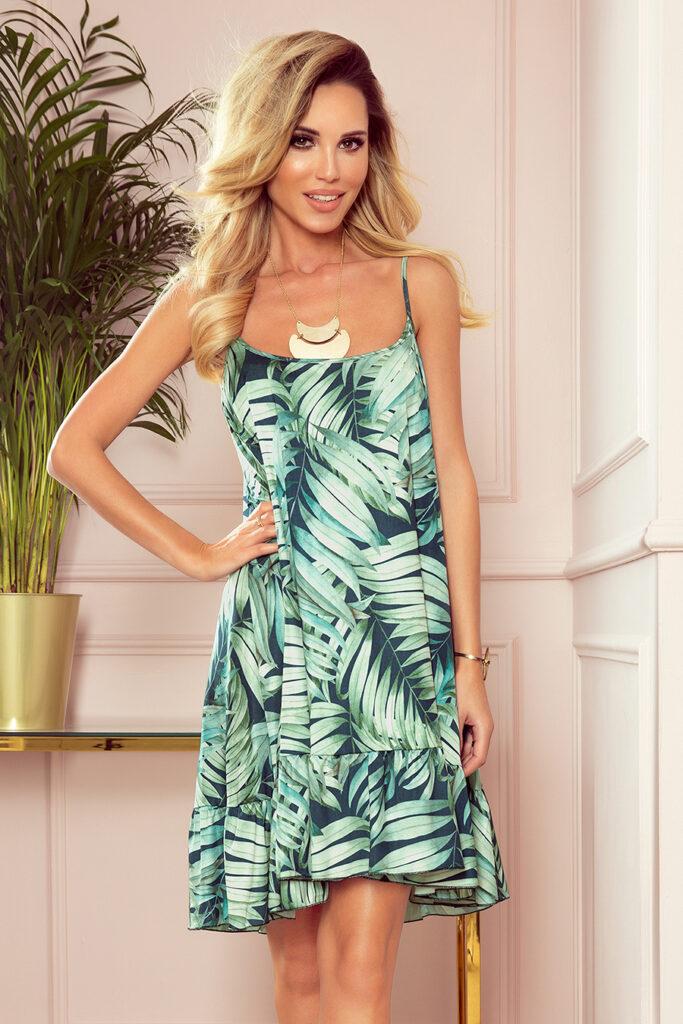 luźna sukienka w zielone liście