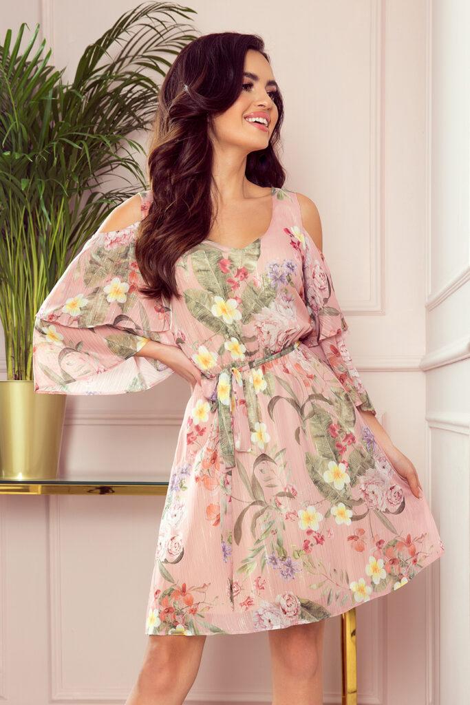 zwiewna szyfonowa sukienka w kwiaty
