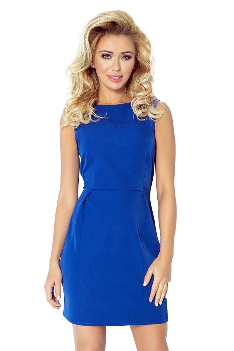 c0ff01f3f8 103-1 KLASYCZNA sukienka z zakładakami w pasie - chabrowa    numoco