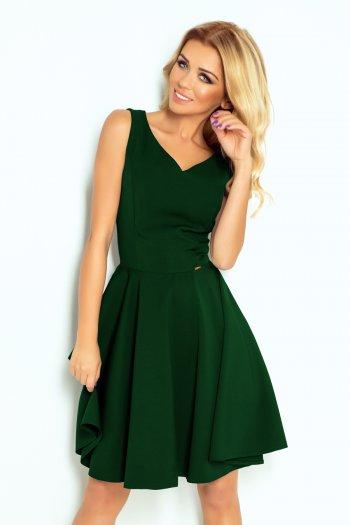 dd2ef50f2e 114-10 Rozkloszowana sukienka - dekolt w kształcie serca - ZIELEŃ BUTELKOWA