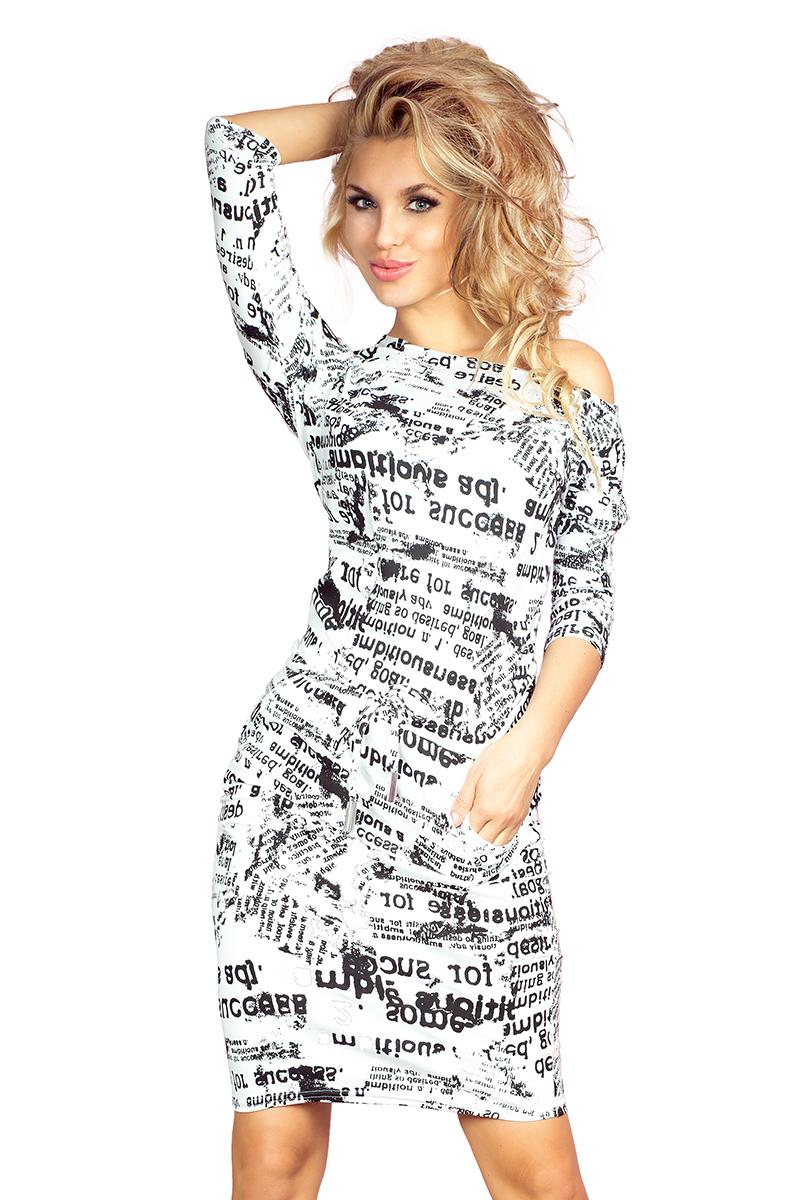9c718c2ba941a4 13-25 Sukienka sportowa - gazetowe napisy + biały :: numoco