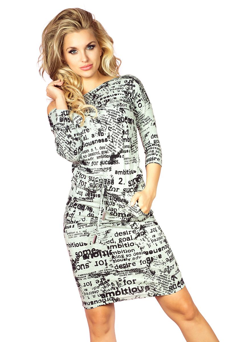 1bdc40e9f6 13-27 Sukienka sportowa - gazetowe napisy + jasny szary    numoco