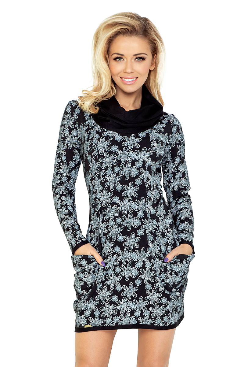 1831843d40 135-3 Golf - sukienka z dużymi kieszeniami - wzór WANILIA Czarna ...