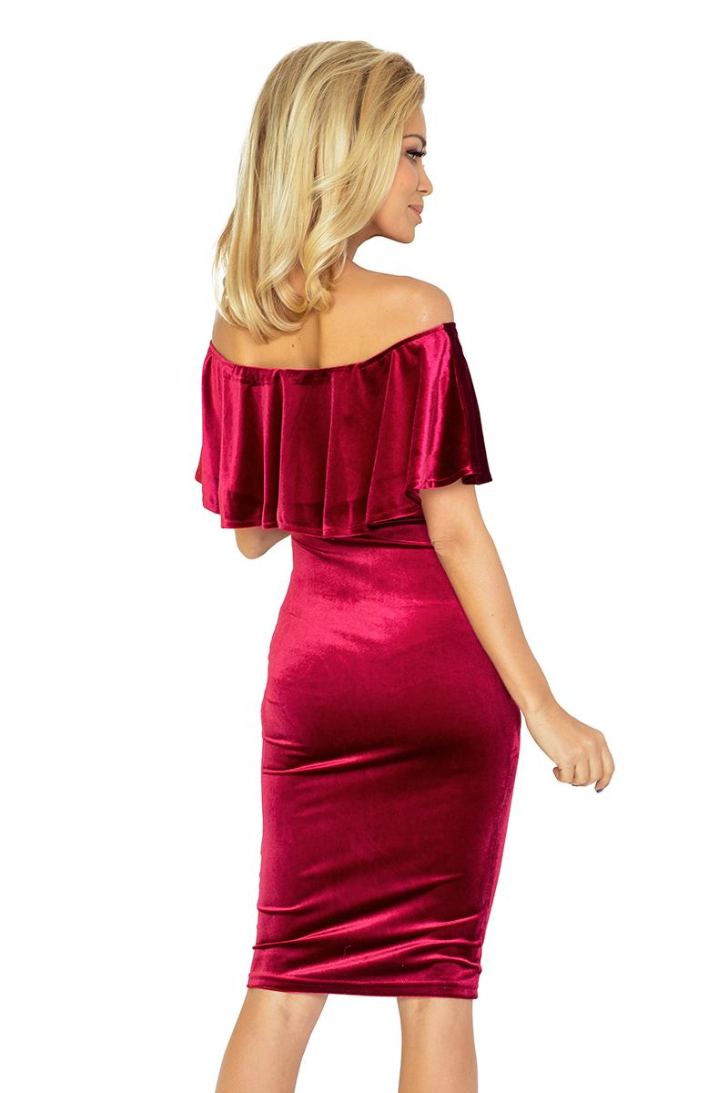 708a2a6507 138-3 Sukienka hiszpanka - welurowa w kolorze BUGRUND    numoco
