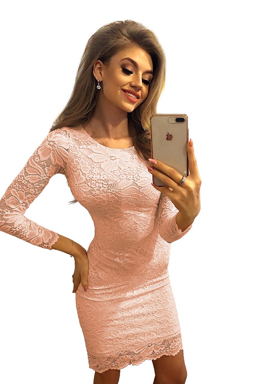 470e75c269 145-5 Dopasowana koronkowa sukienka - BRZOSKWINIOWA    numoco