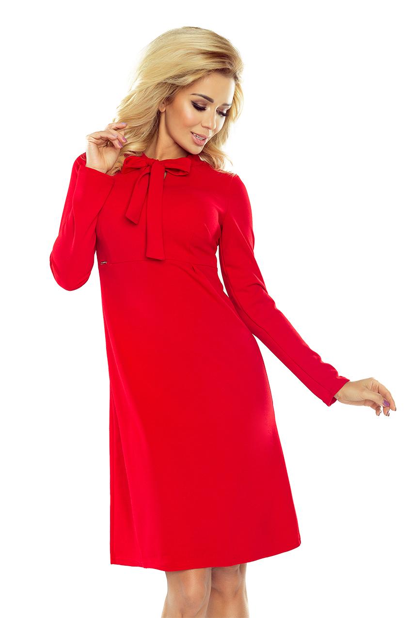 Chwalebne 158-2 OLA sukienka trapezowa z wiązaniem pod szyją - CZERWONA EB26