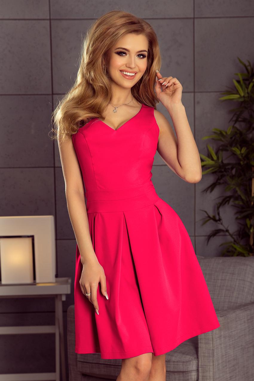 8f44cebe 160-6 Sukienka rozkloszowana z dekoltem, kontrafałdą i kieszeniami ...