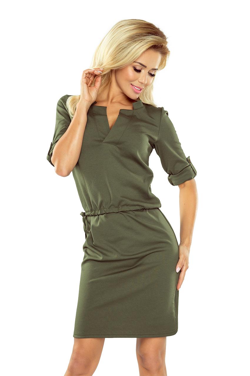 161 2 AGATA Sukienka z kołnierzykiem i patkami na
