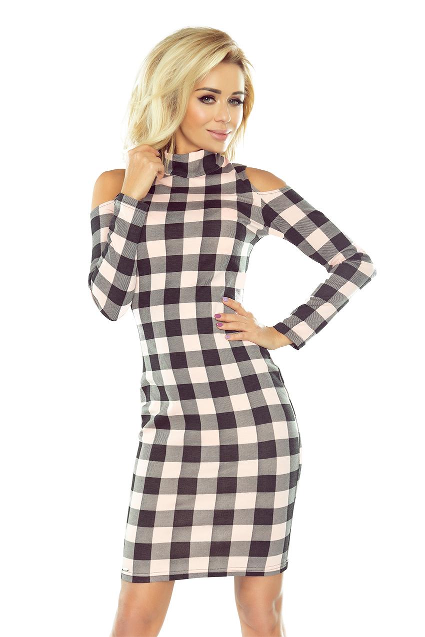 23ffd8c9f8 165-1 Sukienka w czarno-RÓŻOWĄ kratkę z półgolfem i dziurami na ramionach