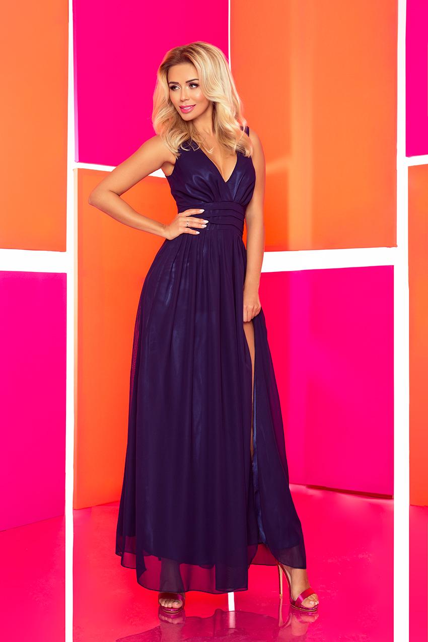 394d117a4f 166-1 MAXI szyfonowa sukienka z rozcięciem - GRANATOWA    numoco