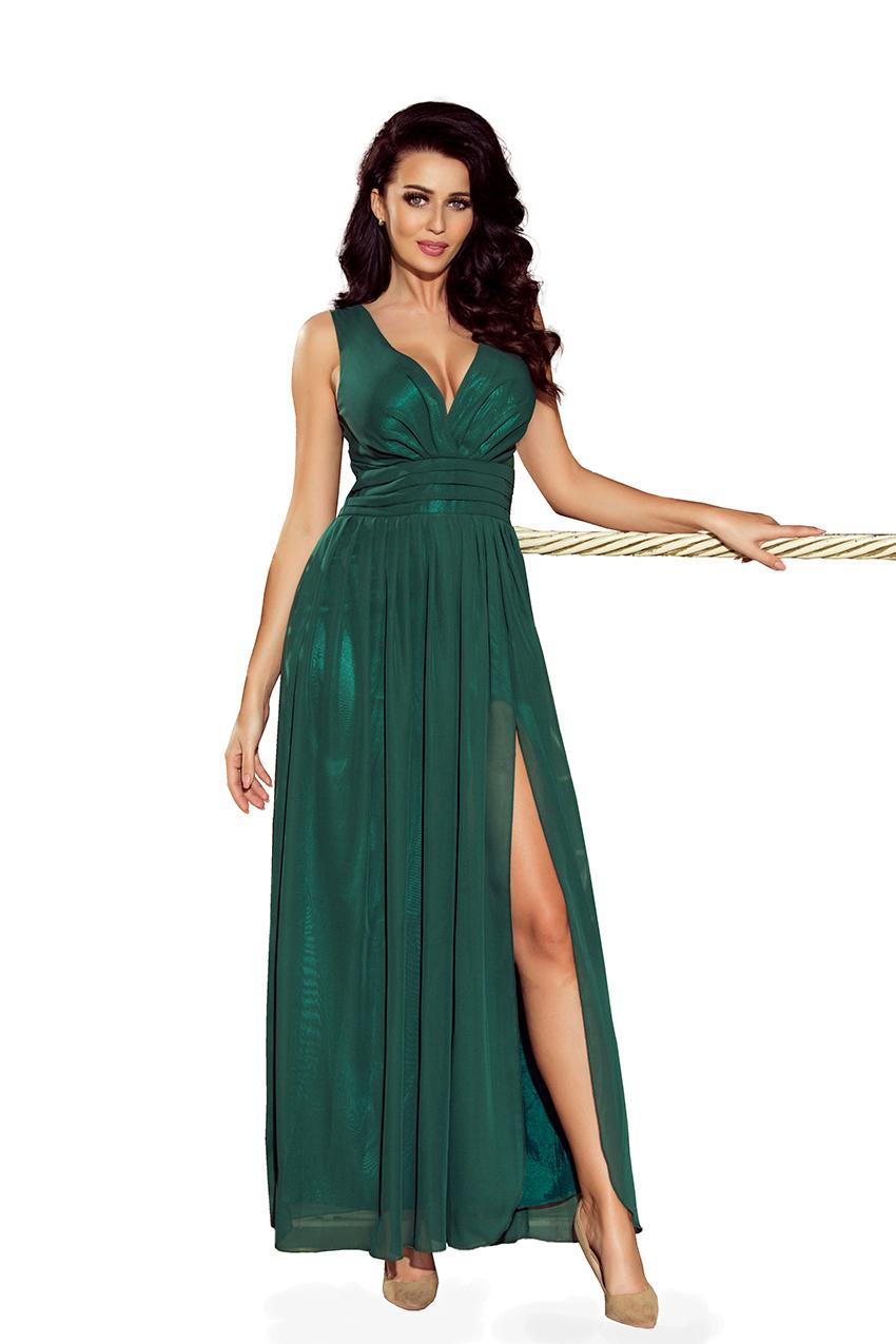 da83c9da93 166-5 MAXI szyfonowa długa suknia z rozcięciem - ZIELEŃ BUTELKOWA ...