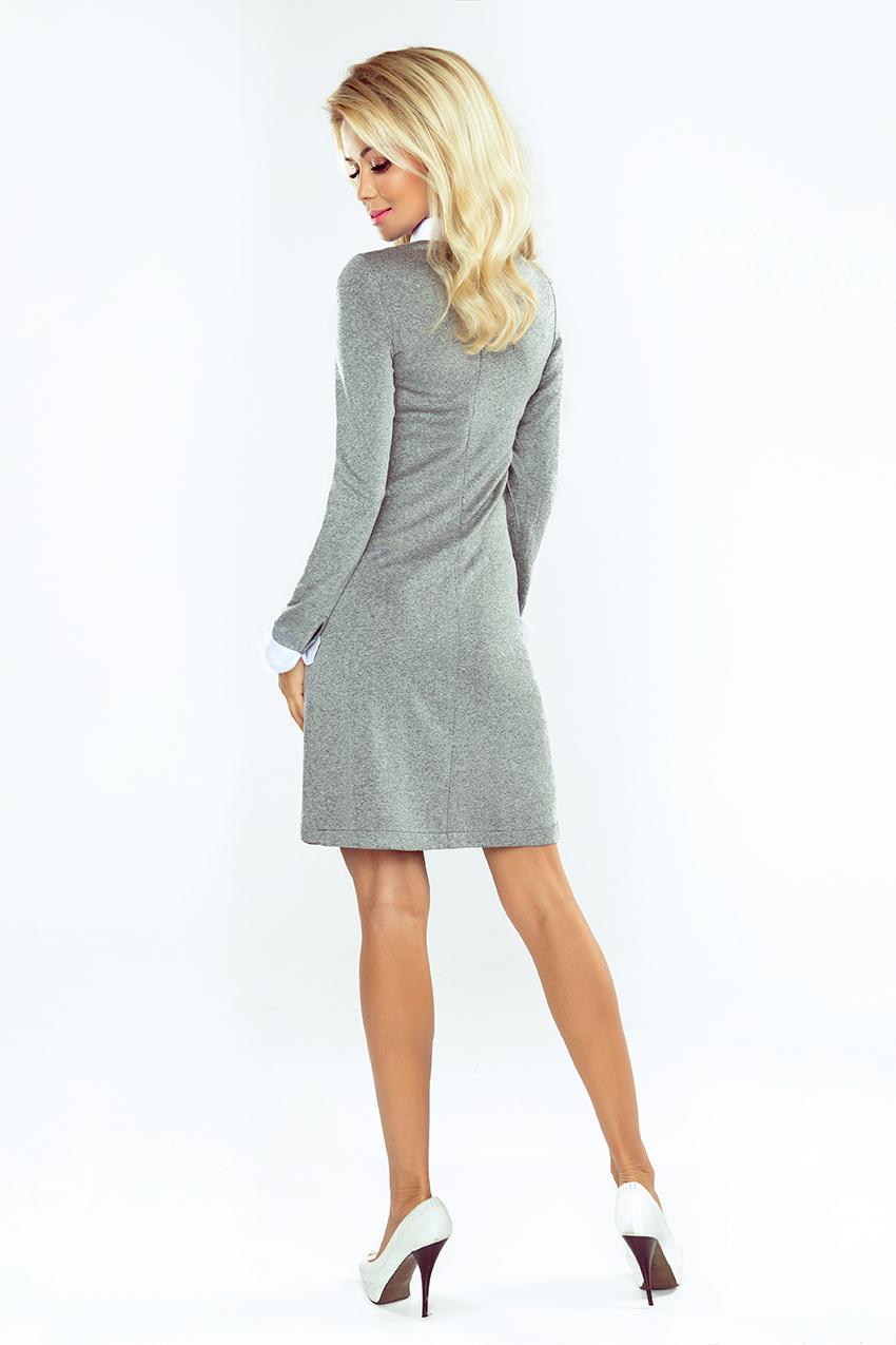 bfdac1649b 167-1 Sukienka sweterkowa z KOŁNIERZYKIEM - szara    numoco