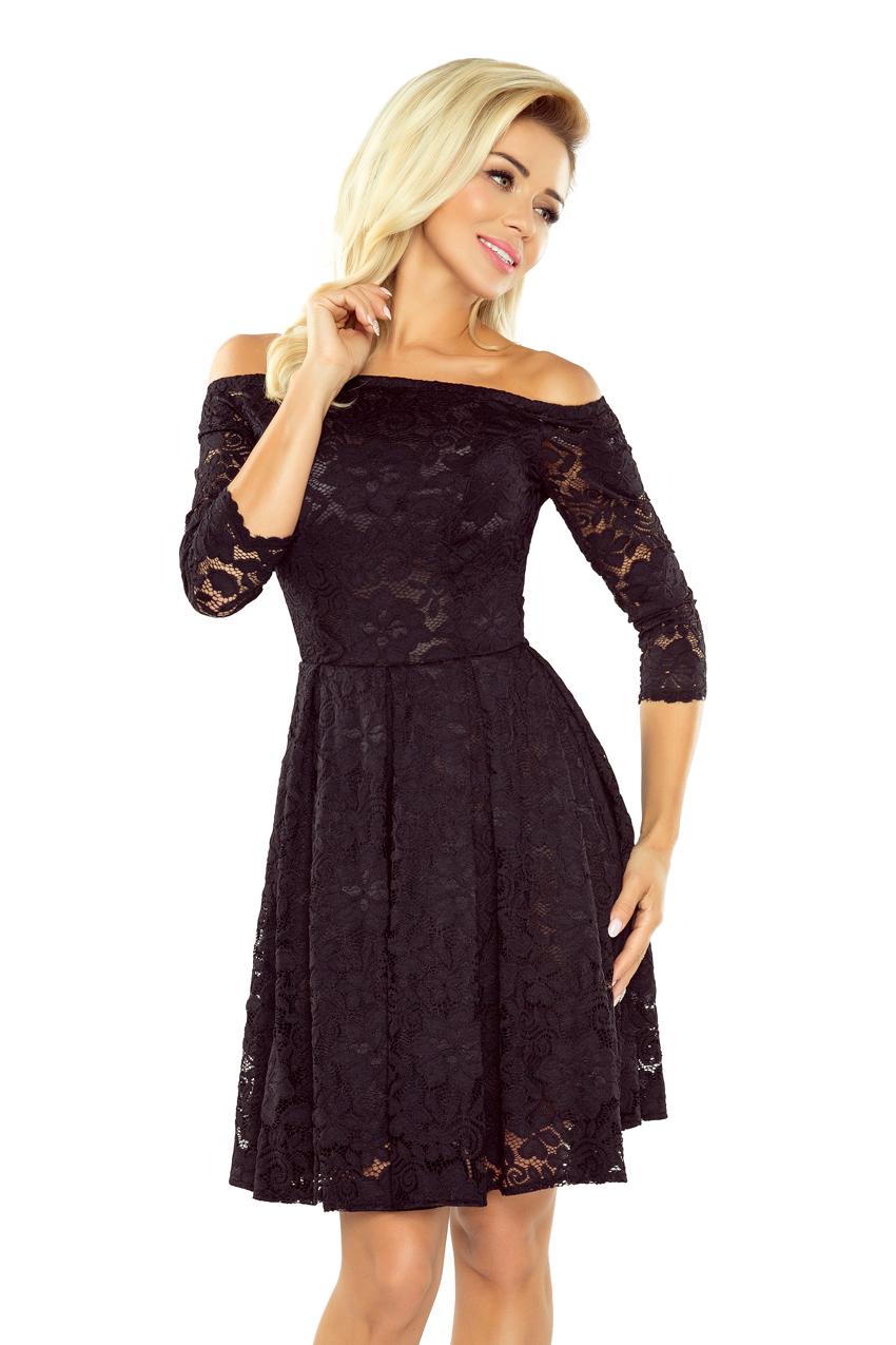 2170bb9b03ef6b 168-1 Sukienka z odkrytymi ramionami - kontrafałda - czarna koronka ...