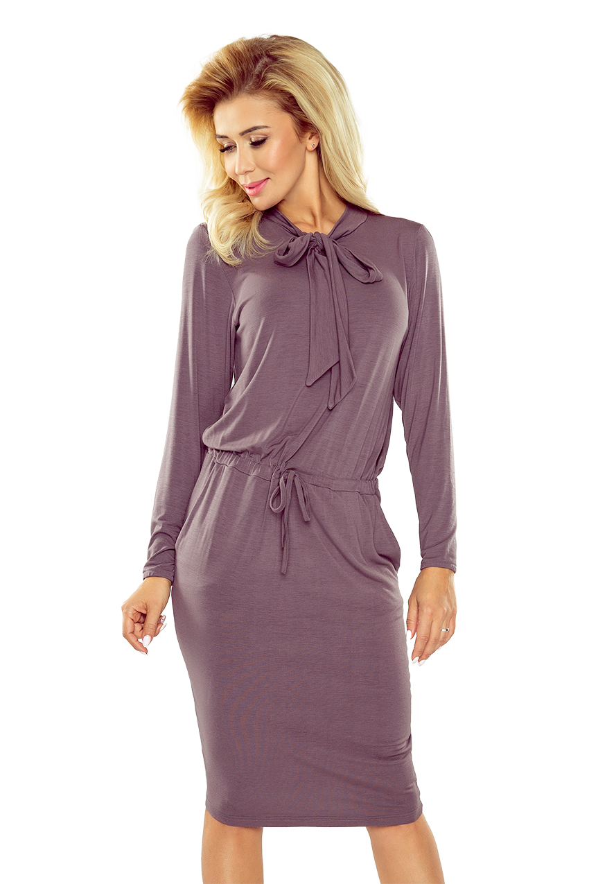 db6f084ddf 171-1 Sukienka z wiązaniem pod szyją i długim rękawem - JASNA ŚLIWKA ...