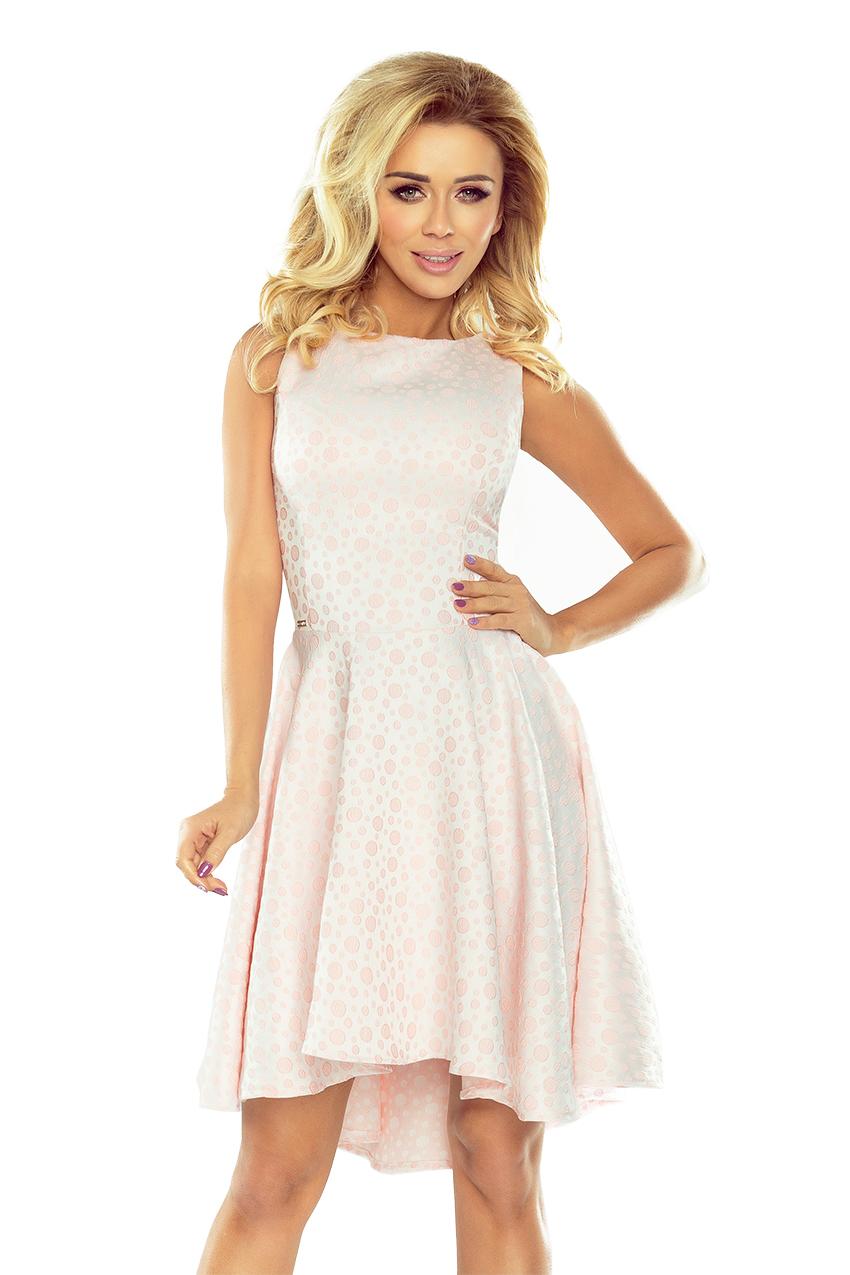 47537c3906 175-1 Wyjątkowa sukienka z dłuższym tyłem - żakard kółeczka PASTELOWY RÓŻ
