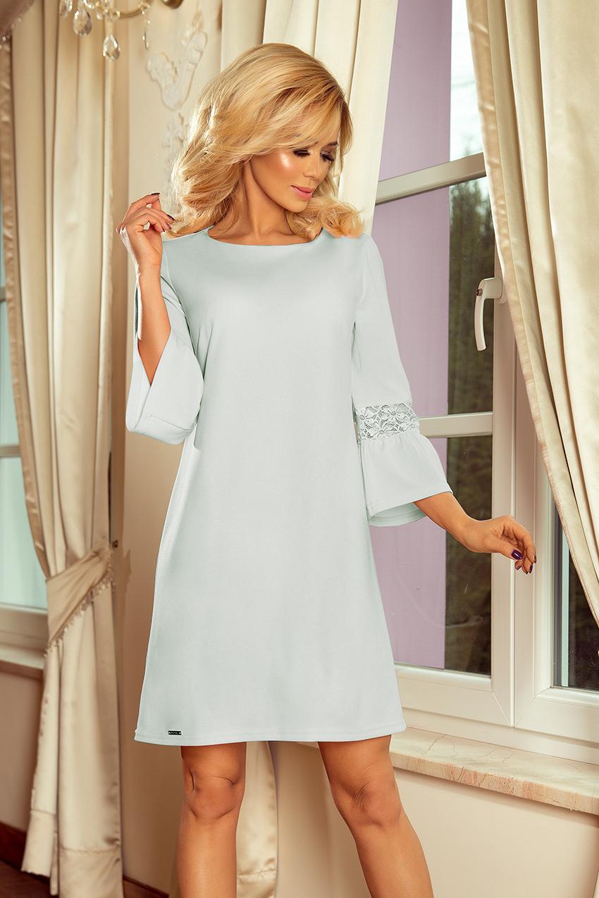417e1f9d4d 190-5 MARGARET sukienka z koronką na rękawkach - BŁĘKIT    numoco