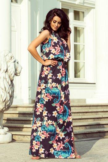 c00628ec39 191-3 Sukienka MAXI wiązana na szyi z rozcięciem - KAMELEONY z kwiatami