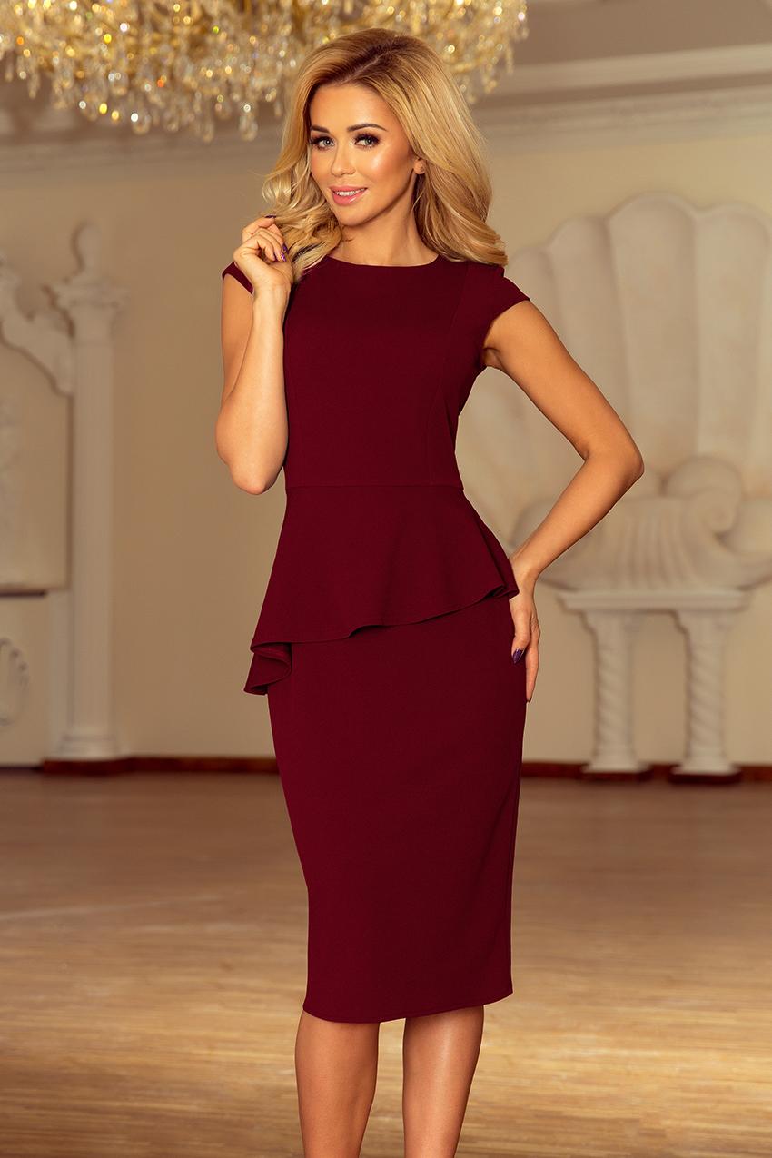 438847ab8e 192-6 Elegancka sukienka MIDI z baskinką - BORDOWA    numoco
