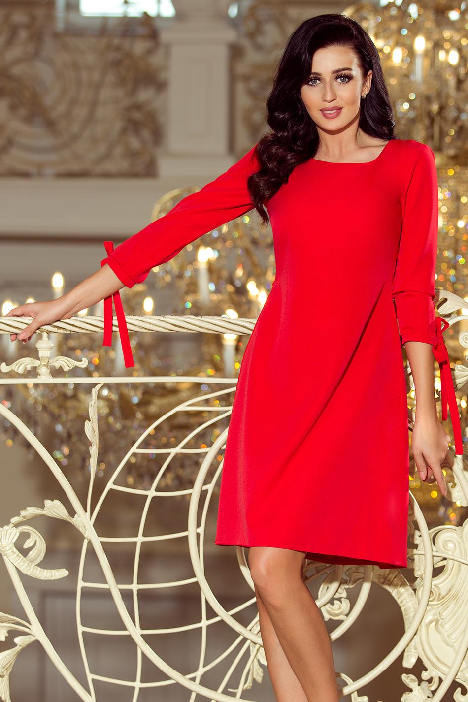86583f8452 195-4 ALICE Sukienka z kokardkami - CZERWONA    numoco