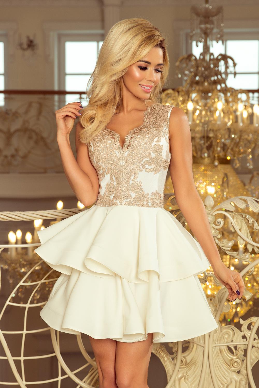8776f30e8507f2 200-1 CHARLOTTE - ekskluzywna sukienka z koronkowym dekoltem - ZŁOTY ...