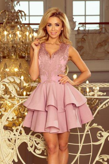3e477a61228cd5 200-10 CHARLOTTE - ekskluzywna sukienka z koronkowym dekoltem - LILA