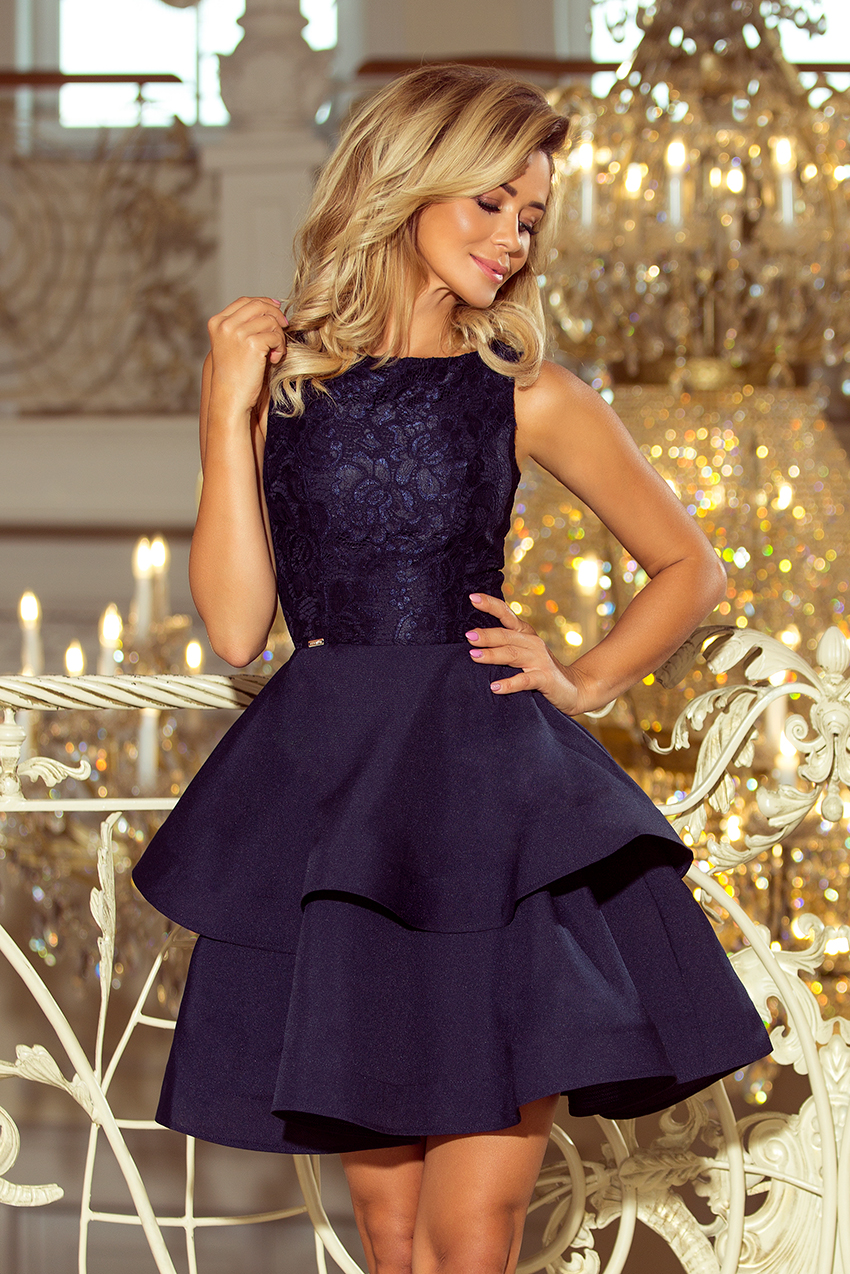 f8f3e6cf 205-3 LAURA podwójnie rozkloszowana sukienka z koronkową górą ...
