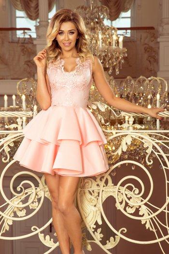 c8de6d1747 207-3 ALEXIS - ekskluzywna sukienka z koronkowym dekoltem i pianką -  PASTELOWY RÓŻ