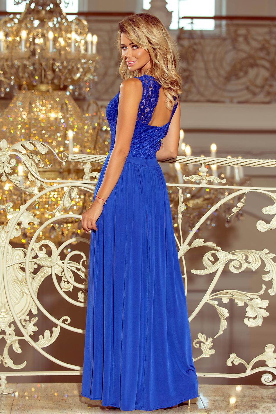 dddfa3dfa1 211-3 LEA długa suknia bez rękawków z koronkowym dekoltem - chaber ...