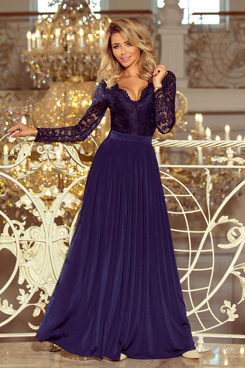 4179dceb 214-1 MADLEN długa suknia z koronkowym dekoltem i długim rękawkiem ...