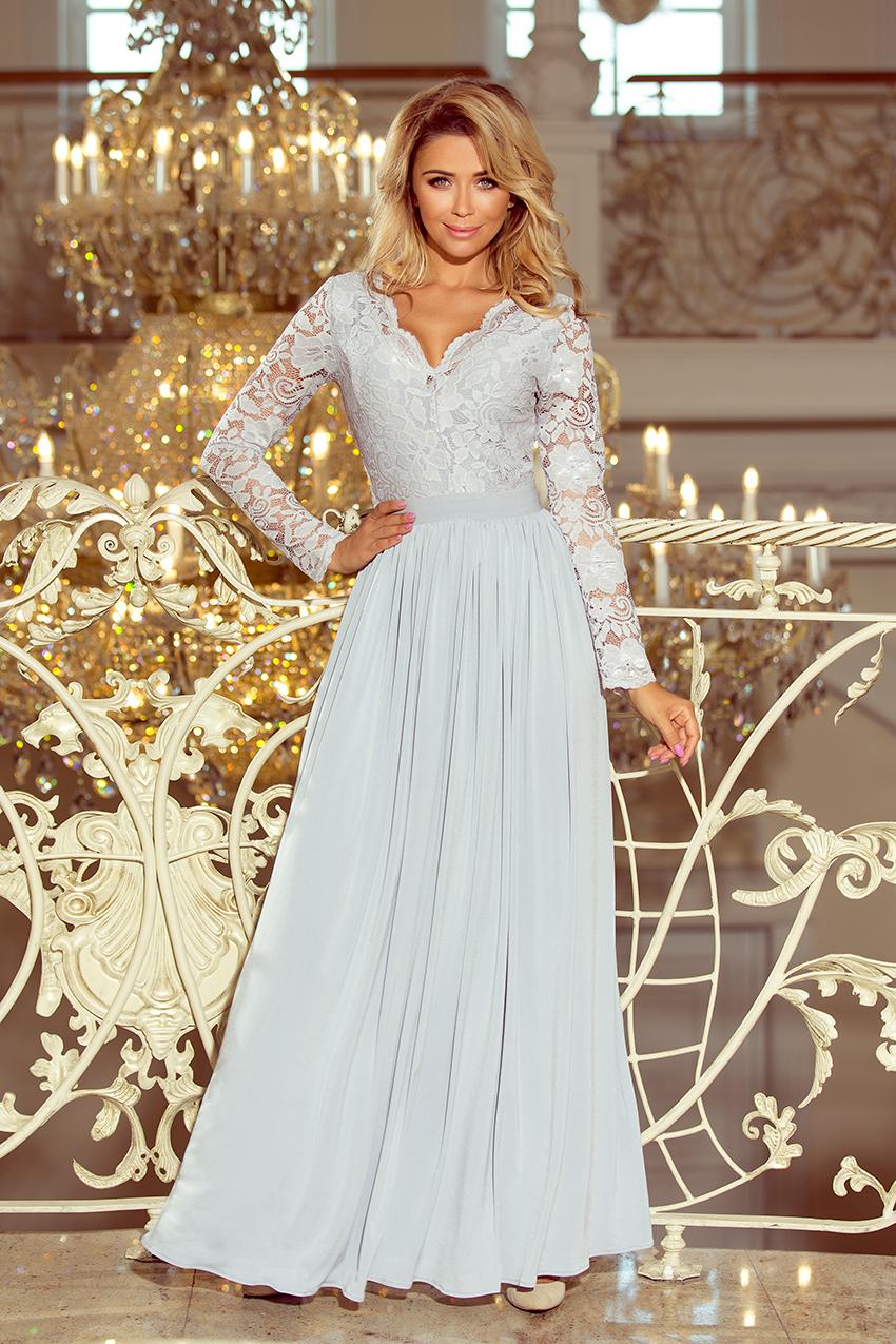 59238fef 214-2 MADLEN długa suknia z koronkowym dekoltem i długim rękawkiem ...