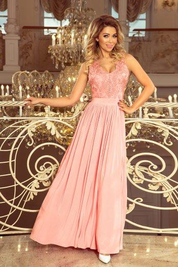 b9d24578a6 215-4 LEA długa suknia bez rękawków z haftowanym dekoltem - PASTELOWY RÓŻ