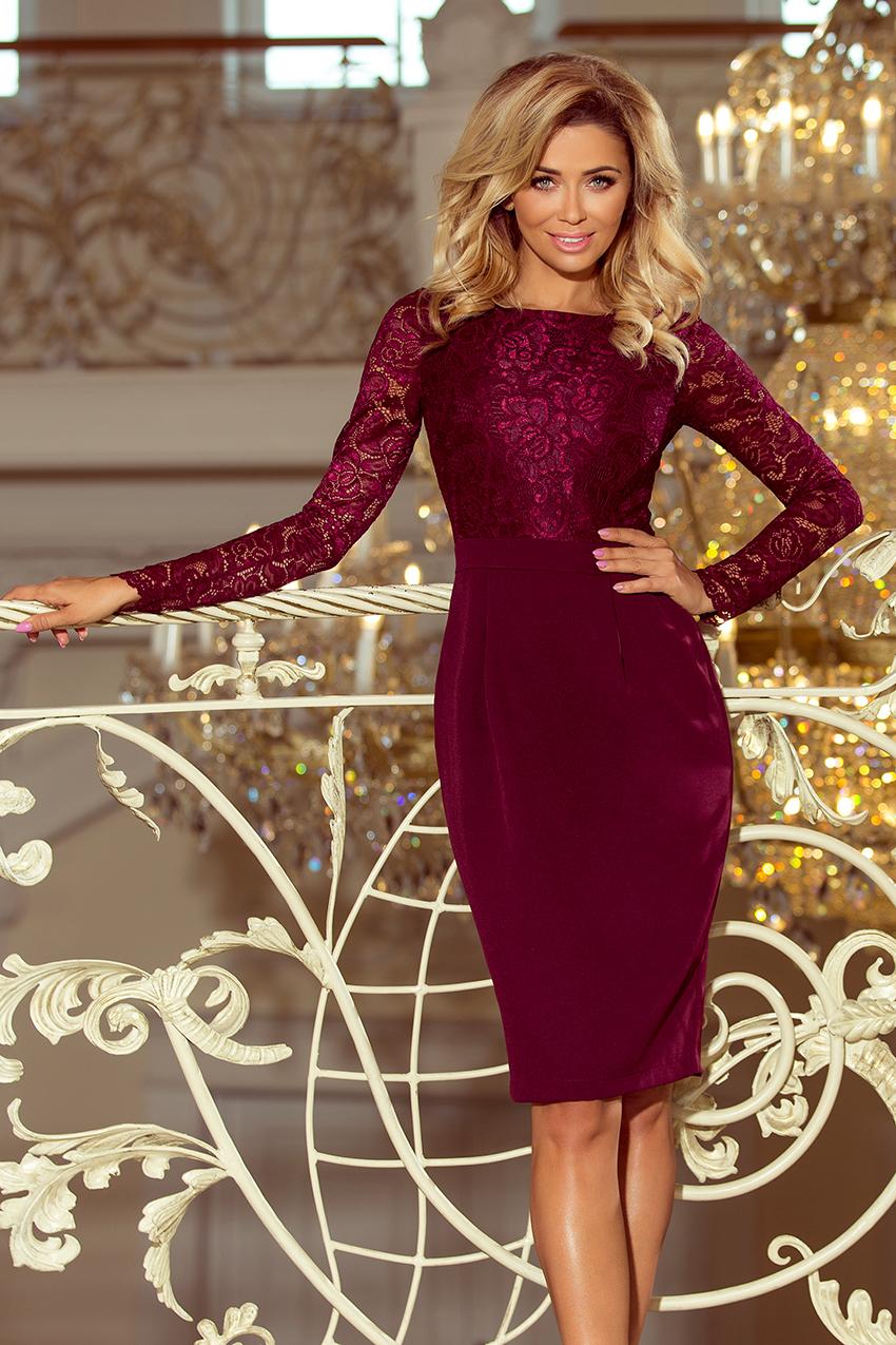634a80eb87 216-3 EMMA elegancka ołówkowa sukienka z koronką - BORDOWA    numoco