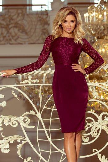 a52b72c8b2 216-3 EMMA elegancka ołówkowa sukienka z koronką - BORDOWA