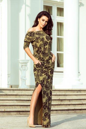 33a77dfe6a 220-2 MAXI sukienka sportowa z rozcięciem - okrągłe LIŚCIE + KHAKI