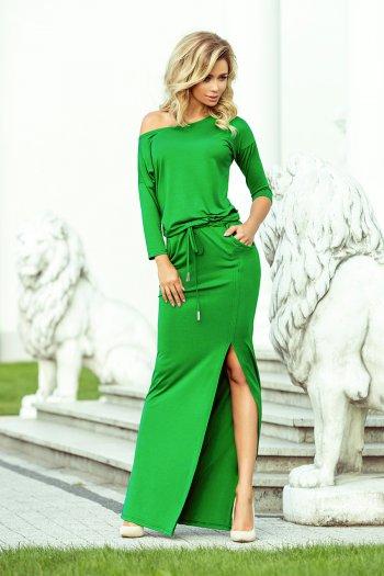 f1a7ec9851 220-7 MAXI sukienka sportowa z rozcięciem - ZIELONA