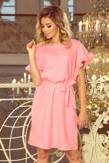 70e77ec9f0 229-1 ROSE Sukienka z wiązaniem i falbankami na rękawkach - PASTELOWY RÓŻ