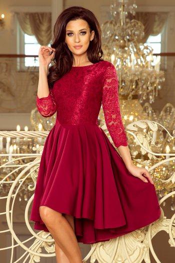 1600b4a217 231-1 OLIVIA - sukienka z dłuższym tyłem i koronką - BORDOWA