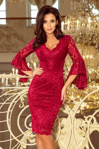 aa853da158 234-1 Koronkowa sukienka z rozkloszowanymi rękawkami - BORDOWA