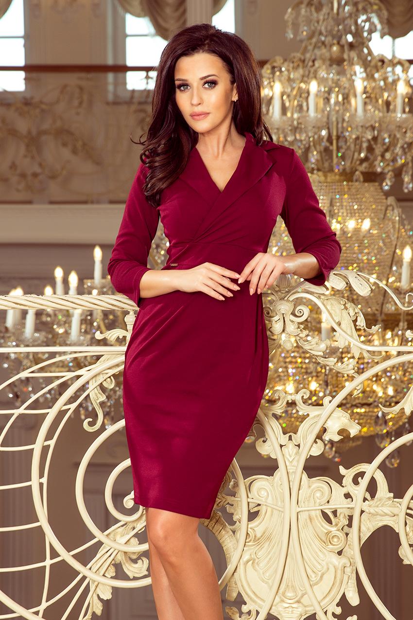 1b2a2ea3b5 237-2 KELLY Elegancka sukienka z dekoltem - BORDOWA    numoco