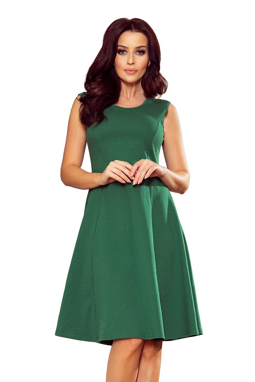 b6363747d1 239-1 INEZ trapezowa sukienka - ZIELEŃ BUTELKOWA    numoco
