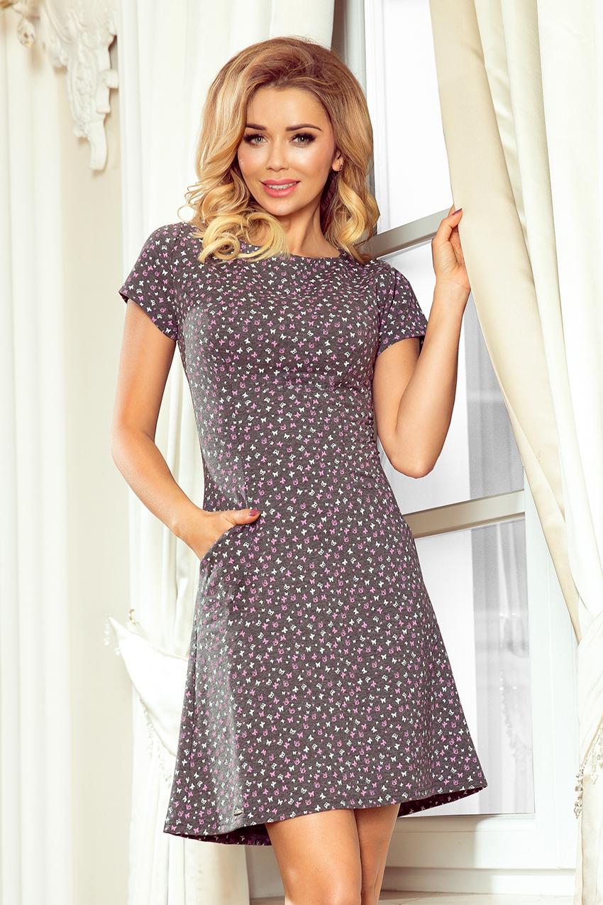 94dc4128f6 252-1 LILY Sukienka z krótkim rękawkiem - grafit + fioletowe motylki ...